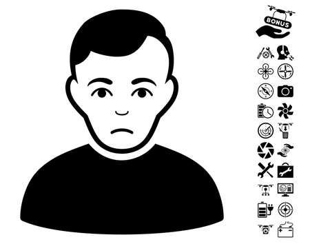 Sad Man pictograph with bonus drone tools images. Vector illustration style is flat iconic black symbols on white background. Illustration