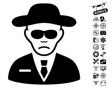 agent de sécurité: Agent de sécurité icône avec bonus de quad collection d'outils copter pictographique. Vector illustration style est plat emblématique des symboles noirs sur fond blanc.
