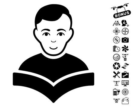 configure: Student icon with bonus nanocopter service pictograms. Vector illustration style is flat iconic black symbols on white background.