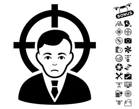 Victim Businessman pictograph with bonus copter tools pictures. Vector illustration style is flat iconic black symbols on white background.