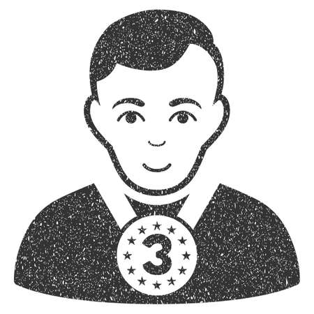 3rd Prizer Sportsman grainy textured icon for overlay watermark stamps. Flat symbol with dust texture. Dotted glyph gray ink rubber seal stamp with grunge design on a white background.