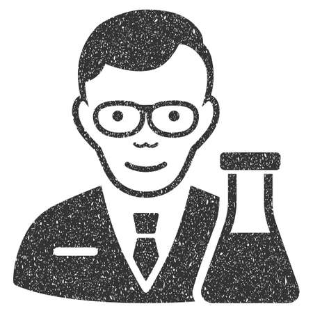 Chemist grainy textured icon for overlay watermark stamps. Flat symbol with unclean texture. Dotted glyph gray ink rubber seal stamp with grunge design on a white background.