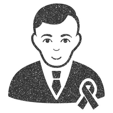 mourn: Gentleman With Mourning Ribbon grainy textured icon for overlay watermark stamps. Flat symbol with scratched texture. Dotted glyph gray ink rubber seal stamp with grunge design on a white background. Stock Photo