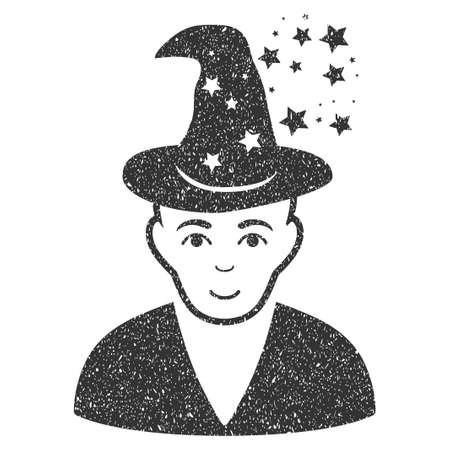 Magic Master grainy textured icon for overlay watermark stamps. Flat symbol with scratched texture. Dotted glyph gray ink rubber seal stamp with grunge design on a white background.