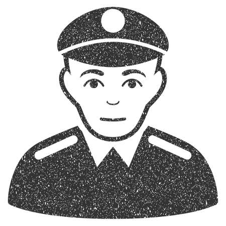 patrol: Soldier grainy textured icon for overlay watermark stamps. Flat symbol with dust texture. Dotted glyph gray ink rubber seal stamp with grunge design on a white background.