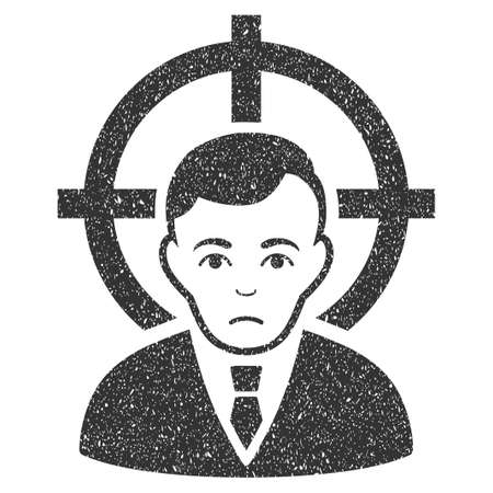 symbol victim: Victim Businessman grainy textured icon for overlay watermark stamps. Flat symbol with scratched texture. Dotted glyph gray ink rubber seal stamp with grunge design on a white background.