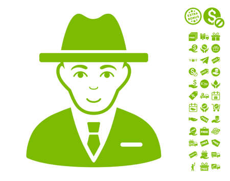Agent icon with free bonus pictures. Vector illustration style is flat iconic symbols, eco green color, white background.