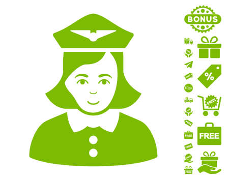Airline Stewardess pictograph with free bonus icon set. Vector illustration style is flat iconic symbols, eco green color, white background.