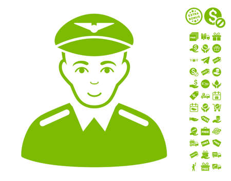 Aviator pictograph with free bonus pictograph collection. Vector illustration style is flat iconic symbols, eco green color, white background.