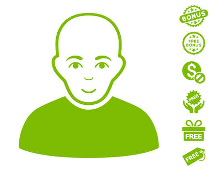 Bald Man pictograph with free bonus pictures. Vector illustration style is flat iconic symbols, eco green color, white background.