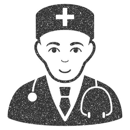 Physician grainy textured icon for overlay watermark stamps. Flat symbol with dust texture. Dotted glyph gray ink rubber seal stamp with grunge design on a white background.