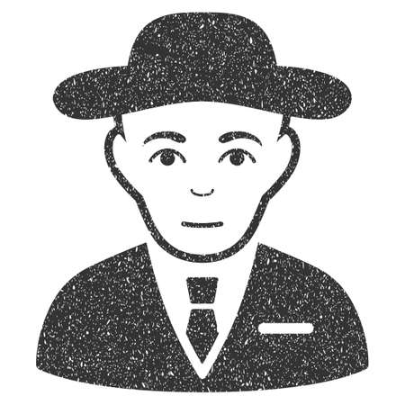 Secret Service Agent grainy textured icon for overlay watermark stamps. Flat symbol with dust texture. Dotted glyph gray ink rubber seal stamp with grunge design on a white background.