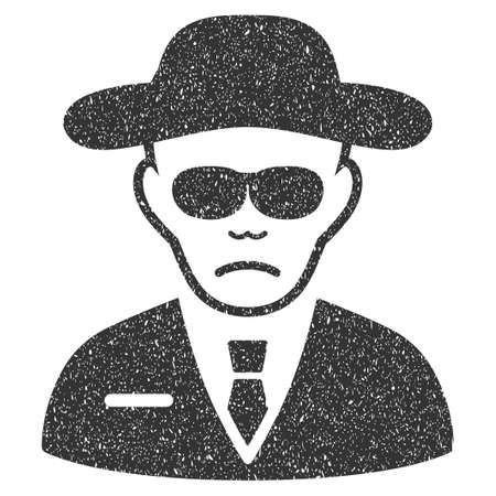 the fbi: Security Agent grainy textured icon for overlay watermark stamps. Flat symbol with scratched texture. Dotted glyph gray ink rubber seal stamp with grunge design on a white background.