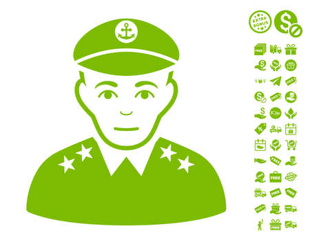 Military Captain icon with free bonus pictograms. Vector illustration style is flat iconic symbols, eco green color, white background. Illustration