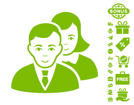 People icon with free bonus icon set. Vector illustration style is flat iconic symbols, eco green color, white background.