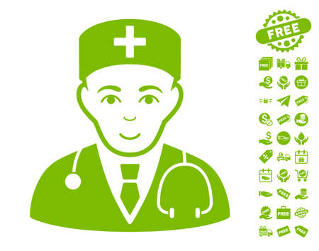 Physician pictograph with free bonus clip art. Vector illustration style is flat iconic symbols, eco green color, white background.