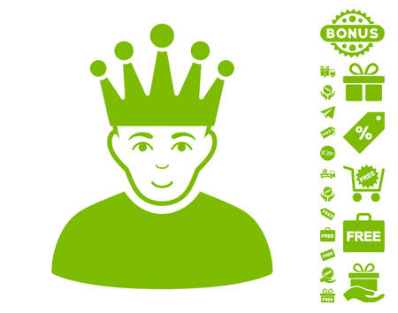 Moderator icon with free bonus images. Vector illustration style is flat iconic symbols, eco green color, white background.