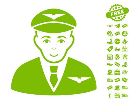 Pilot icon with free bonus design elements. Vector illustration style is flat iconic symbols, eco green color, white background. Illustration