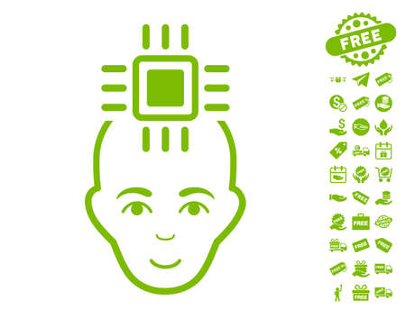 Neural Computer Interface icon with free bonus pictograph collection. Vector illustration style is flat iconic symbols, eco green color, white background.