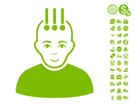 Neural Interface pictograph with free bonus pictograms. Vector illustration style is flat iconic symbols, eco green color, white background.