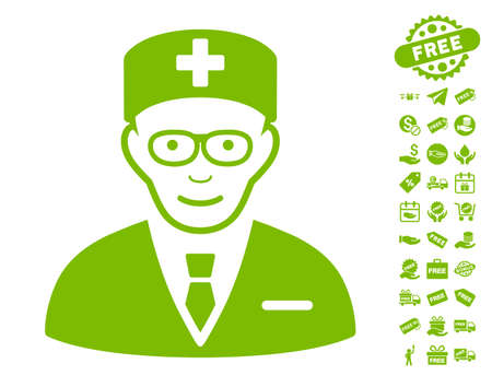 Head Physician icon with free bonus pictures. Vector illustration style is flat iconic symbols, eco green color, white background. Illustration