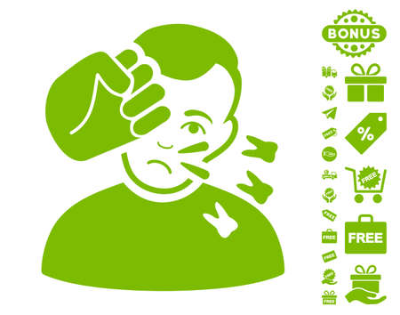 Head Strike pictograph with free bonus design elements. Vector illustration style is flat iconic symbols, eco green color, white background.