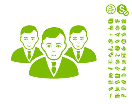 Manager Group icon with free bonus design elements. Vector illustration style is flat iconic symbols, eco green color, white background. Illustration
