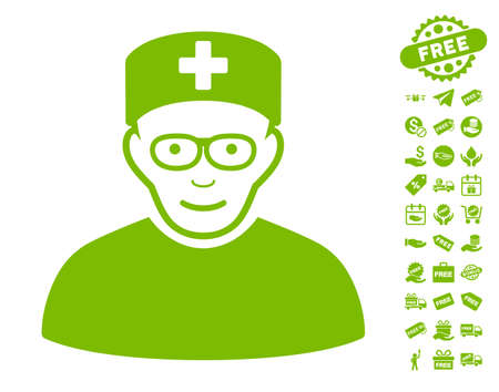 Medical Specialist pictograph with free bonus pictograms. Vector illustration style is flat iconic symbols, eco green color, white background.