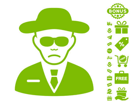 Security Agent pictograph with free bonus pictures. Vector illustration style is flat iconic symbols, eco green color, white background.