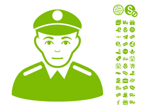 Soldier pictograph with free bonus design elements. Vector illustration style is flat iconic symbols, eco green color, white background. Illustration