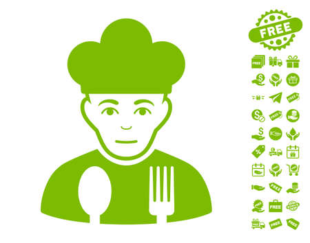 Sad Cook pictograph with free bonus images. Vector illustration style is flat iconic symbols, eco green color, white background.