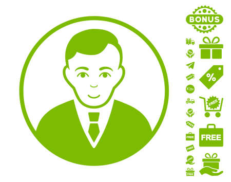 Rounded Gentleman pictograph with free bonus images. Vector illustration style is flat iconic symbols, eco green color, white background. Illustration