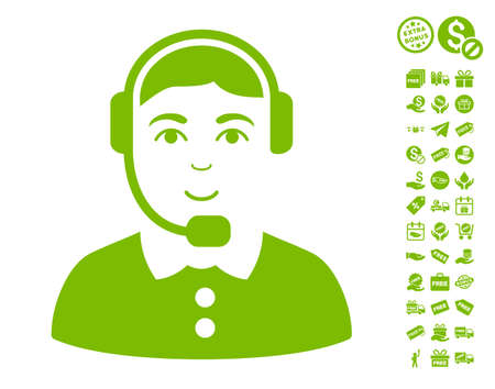 Call Center Operator icon with free bonus pictograms. Vector illustration style is flat iconic symbols, eco green color, white background.