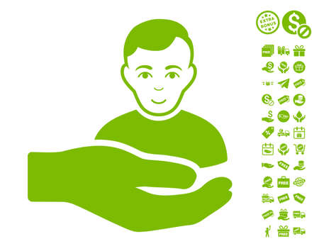Customer Support Hand icon with free bonus design elements. Vector illustration style is flat iconic symbols, eco green color, white background.