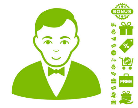 capitalist: Dealer icon with free bonus design elements. Vector illustration style is flat iconic symbols, eco green color, white background. Illustration