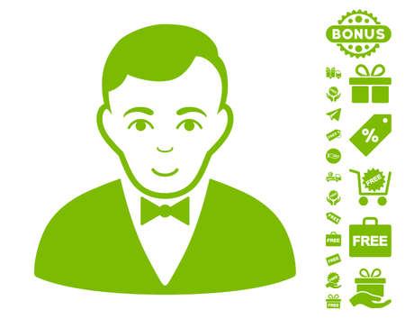 Dealer icon with free bonus design elements. Vector illustration style is flat iconic symbols, eco green color, white background. Illustration