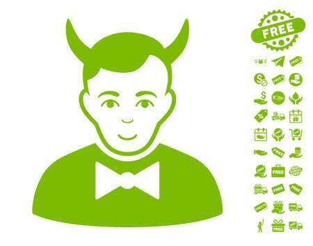 fearsome: Devil icon with free bonus pictograph collection. Vector illustration style is flat iconic symbols, eco green color, white background.