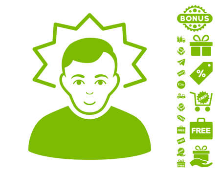 Inventor pictograph with free bonus design elements. Vector illustration style is flat iconic symbols, eco green color, white background.