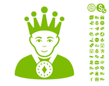 czar: King icon with free bonus graphic icons. Vector illustration style is flat iconic symbols, eco green color, white background.