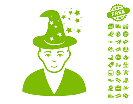 magus: Magic Master pictograph with free bonus pictograms. Vector illustration style is flat iconic symbols, eco green color, white background.