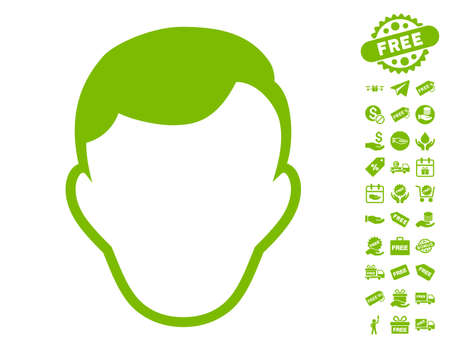 Man Face Template icon with free bonus design elements. Vector illustration style is flat iconic symbols, eco green color, white background.