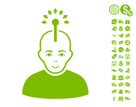 cranial: Optical Neural Interface pictograph with free bonus pictograms. Vector illustration style is flat iconic symbols, eco green color, white background.