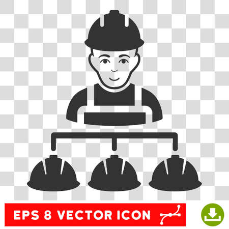Builder Management EPS vector pictograph. Illustration style is flat iconic gray symbol on chess transparent background.