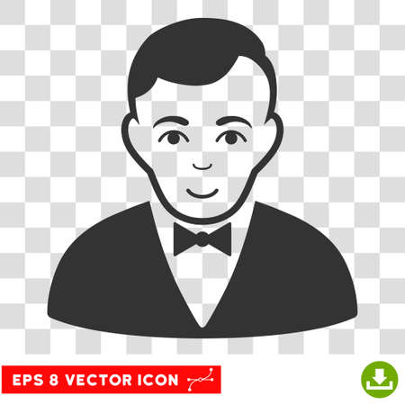 Dealer EPS vector pictograph. Illustration style is flat iconic gray symbol on chess transparent background.