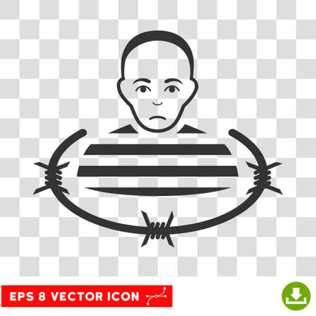 prison guard: Isolated Prisoner EPS vector pictograph. Illustration style is flat iconic gray symbol on chess transparent background.