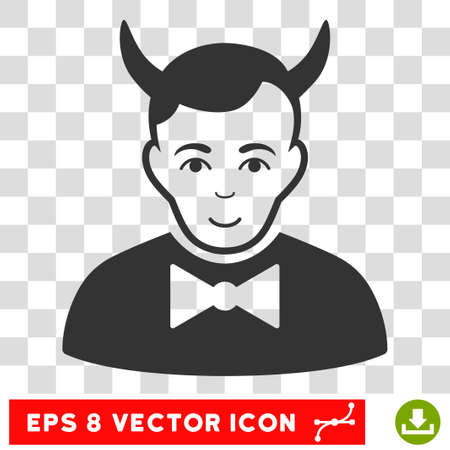 frightful: Devil EPS vector pictogram. Illustration style is flat iconic gray symbol on chess transparent background.