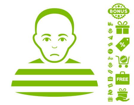 prison guard: Prisoner pictograph with free bonus images. Vector illustration style is flat iconic symbols, eco green color, white background. Illustration