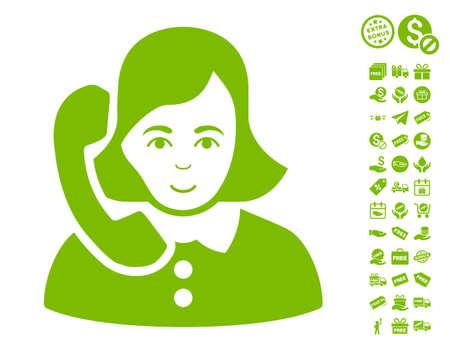 Receptionist icon with free bonus images. Vector illustration style is flat iconic symbols, eco green color, white background. Illustration