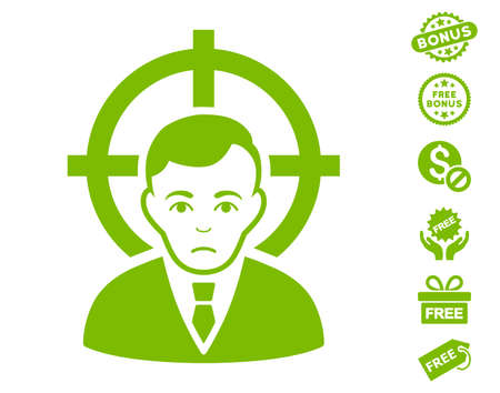Victim Businessman pictograph with free bonus symbols. Vector illustration style is flat iconic symbols, eco green color, white background.