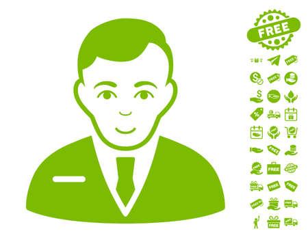 Businessman icon with free bonus pictograms. Vector illustration style is flat iconic symbols, eco green color, white background. Illustration